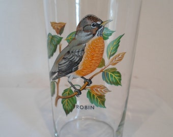 Vintage Robin Large Drinking glass Vase Bird Nature Themed Decor Item