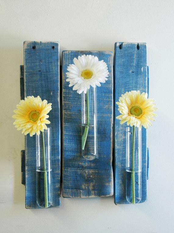 Glass Decor On Wall : Glass beaker wall piece rustic decor bud holder