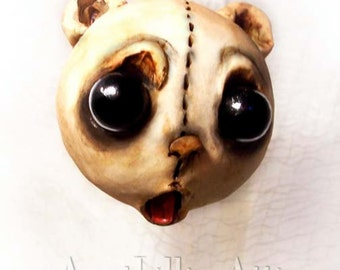 Teddy Bear Christmas Ornament - Creepy Cute - Christmas Bear - MADE TO ORDER -