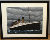 Unique Vintage RMS Titanic Painting Reverse Painted on plastic Animation Cell painting Framed