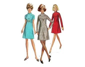 "Vintage Sewing Pattern 60s Jiffy Women's Dress A Line Mandarin Collar Size 10 Bust 32.5"" (82 cm) Simplicity 7755 S"