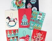 Christmas Card 8 Pack Modern Scandinavian Illustrations Rocking Horse, Robin, Christmas Tree, Baubles, Angels, Elves