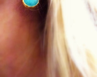 turquoise gold plated drop earrings- teardrop - wholesale cluster of 3 pair- or single pair for sale