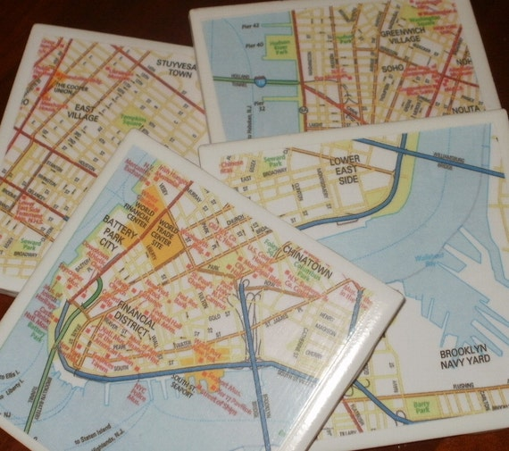 Map Coasters - Wall St - NYC - Lower Manhattan Street Map Coasters...Set of 4...For Drinks and Candles...Full Cork Bottoms NOT Felt