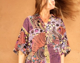 versace style 90s CROP top abstract SURF slouchy WILD baroque oversize blouse shirt
