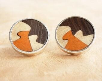 Silver earrings, Round wood earrings, Wood post earrings, Wooden stud earrings, Wooden earrings, Wooden jewelry, Jewelry women