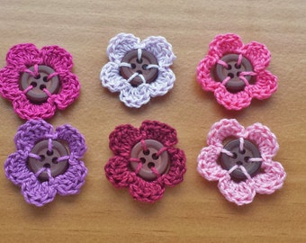 6 Crocheted Button Flowers, Pinks and Purples, Flowers and Buttons, 3 cm, 1.25 inch