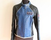 Rare Vintage 1990's Def Jam University 84 Ladies' Leather Blue and Black Motor Jacket - Size Med