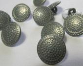 "10 Metal 1/2"" Vintage Buttons (15mm) metal shank buttons, quantity 10 Button Lot"