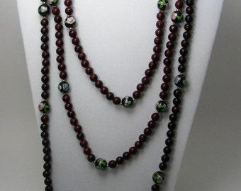 Red Cloisonne Vintage Necklace Set