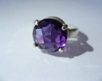 Natural Violet CHeckerboard Cut Amethyst In Sterling Silver Ring, 6.8ct. Size 7