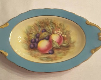 Aynsley Serving Dish; Color is Turquoise; Hand Painted Fruit by D Jones circa 1930's-  DR