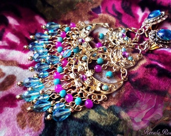"3"" Long Hot Pink & Aqua Turquoise Crystal Earrings, Fantasy Floral, Fuchsia Pink, Silver or Gold Flower Chandelier Earrings, Purple Blue"