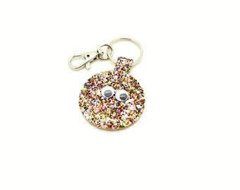 Rainbow Confetti Gold Glitter Fabric Round Circle Googly Eyes Little Monster Key Ring Key Chain Clutch Hand Bag Charm Birthday Gift Idea