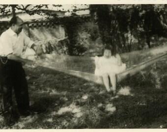"""Vintage Photo """"Hammock Rodeo"""" Fun Girl Children Playing Snapshot Old Photo Black & White Photograph Found Paper Ephemera Vernacular - 169"""