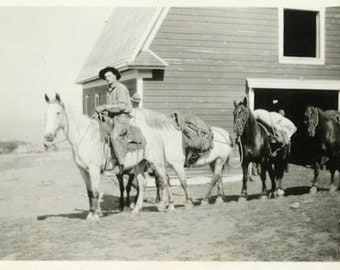 """Vintage Photo """"Headed Out on the Trail"""" Horse Farm Snapshot Old Antique Photo Black & White Photograph Found Paper Ephemera Vernacular - 47"""