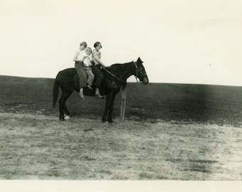 "Vintage Photo ""Barren Landscape Riders"" Girl Horse Snapshot Photo Old Antique Black & White Photograph Found Paper Ephemera Vernacular - 38"