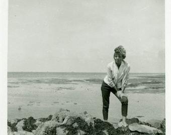 "Vintage Photo ""The Resting Shore"" Beach Girl Women Snapshot Photo Old Antique Black & White Photograph Found Paper Ephemera Vernacular - 152"
