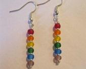 Handmade Gay Pride Earrings Miyuki Matte Glass, Rainbow Gay Marriage Lesbian Love Pride LBGT - Human Rights Equality