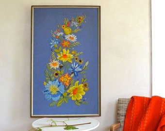 Vintage Crewel Embroidery Large Framed Wall Hanging Floral Theme Beautiful