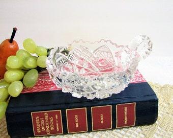 Vintage NuCut Crystal Glass Hobstar Nappy, EAPG, Imperial Glass Co. ... Handled Bon Bon, Trinket / Ring Dish, Elegant Vanity Dish