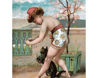Boy with Cat - Cats Greeting Card - Vintage Style from Victorian Trade Card