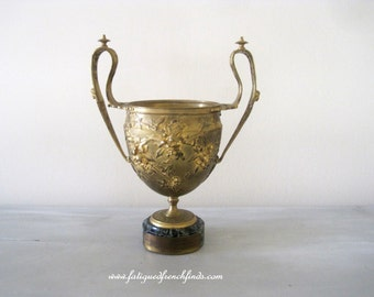 Antique French Gilt Bronze Cup Urn on Marble Base Signed F.Barbedienne With Bronze Presentation Plaque 1903-1919