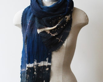 Indigo transitional scarf, urban fashion scarves, black and blue, infinity scarf