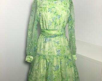 70's Green Floral Print Chiffon Dress