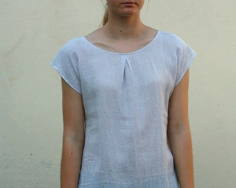 Hand dyed linen-cotton blend shirt, linen clothing unique colors straight hemline