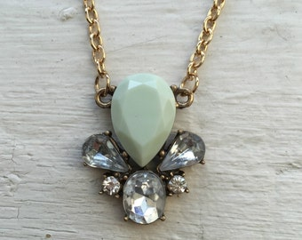 Mint Necklace Rhinestone Flower, Vintage Style, jcrew necklace, jcrew, necklace, jewelry, mint necklace, gold necklace, gift for her