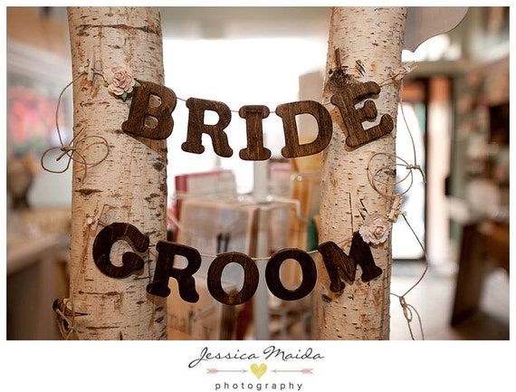 Bride and Groom Chair Banners for Wedding Reception - Bridal Shower Decor - Rustic Wedding Details - Rustic Chic - Bride Groom Garland
