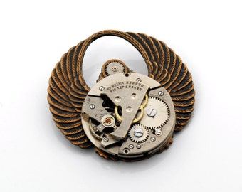 Steampunk Hat Pin, MENS Steampunk Brooch Pin, Vintage Watch Pin, Steampunk Top Hat, Wings Scarab, Steampunk Jewelry VictorianCuriosities