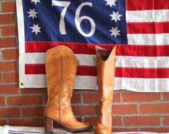 Vintage 70s Tan Stacked Heel Boots 11