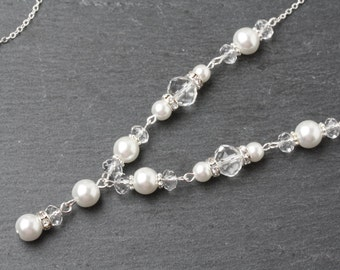 Bridal Necklace, Bridal Y Necklace, Crystal Wedding Necklace, Bridal Jewelry set, Pearl Wedding Necklace, Swarovski Crystal Y Necklace