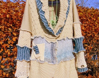 SOLD! SOLD! Refashioned Sweater Coat in shades of blue and tan Sz. XL Upcycled Refashioned