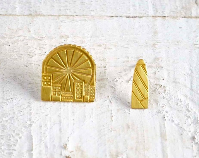 London Eye Gherkin Mix and match Gold plated bronze Earrings famous Architectural Buildings Stud Earrings European Capitals Urban design
