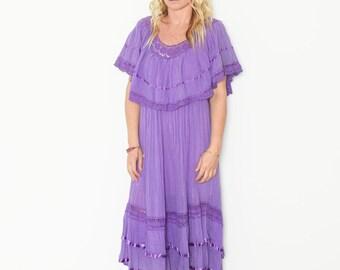 Vintage Mexican Crochet Cotton Gauze Sun Dress