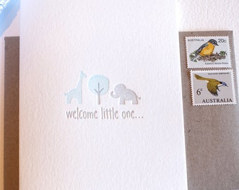New baby boy, baby card, congratulations baby card, Welcome little one Letterpress pastel blue and silver with giraffe and elephant Large