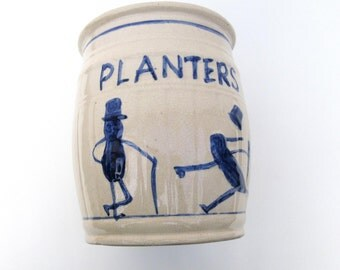 Vintage Stoneware Crock, Planters Peanut Ironstone, Counter Display, Mr. Peanut, Advertising Crock, Mancave Decor, Cobalt Blue