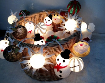 Christmas set cotton ball string lights Cotton ball string lights for , Christmas Lights, Christmas tree decor, fairy lights