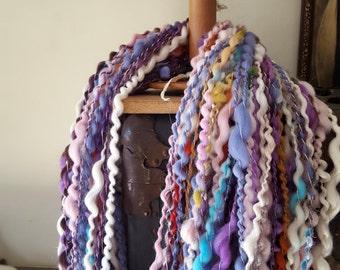 Super Bulky Wavey Art Yarn Cream White Rainbow Boucle thick n thin wool silk Gold warm soft knitting supplies crochet supplies fiber arts