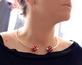 Lampwork glass beads Torque necklace - Torc necklace - Lampwork beads - Red Polka dots - statement necklace - Murano glass