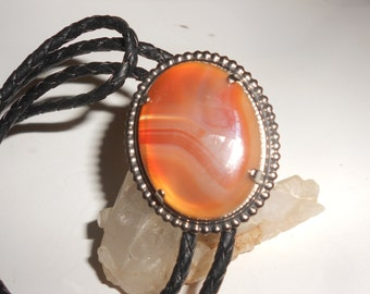 Red Carnelian Agate Bolo Tie Natural Polished Cabochon On Sterling Plate Mount- Classic Western Wear -Vintage