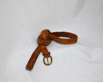 Loosey Leather - Genuine Leather Woven Belt 36 English Saddle Leather