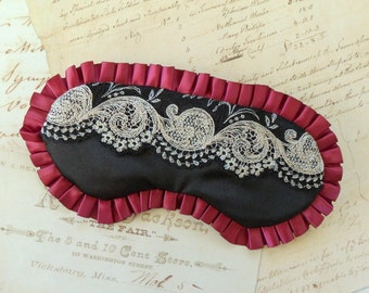 Burlesque Sleep Mask in Burgundy, Black, Ivory // Embroidered Lace, Satin, Ruffles