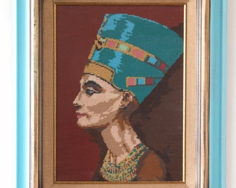 Vintage embroidered art 'painting' Egyptian Queen Nefertiti Egyptian Revival Wooden Frame