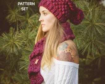 Puff Stitch Crochet Hat & Scarf Pattern Set, Chunky Crochet Hat Pattern, PDF Pattern