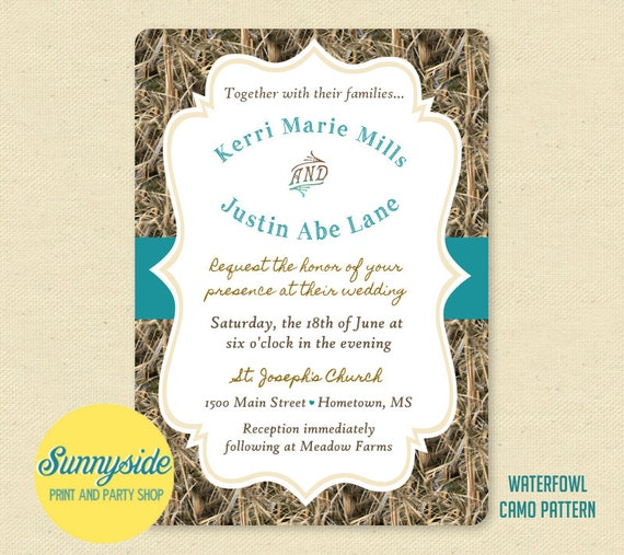 printable camo wedding invitation  the hunt is over camouflage, invitation samples