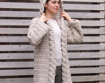 Crochet Pattern cable women shrug bulky cardigan plus size
